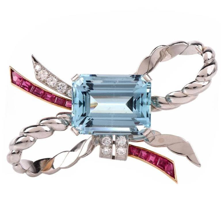 Retro Oscar Heyman Aquamarine Ruby Diamond Gold Platinum Ribbon Bow Pin For Sale