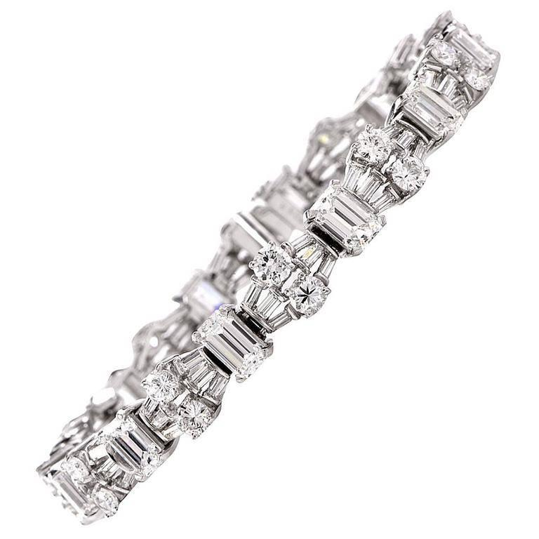 Estate GIA  12.77 carats Emerald Cut Round Diamond Platinum Bracelet