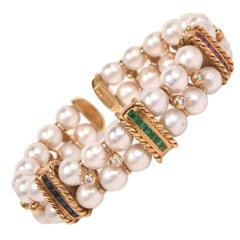Italian Multi Gem Diamond Akoya Pearl 18 Karat Gold Bangle Bracelet