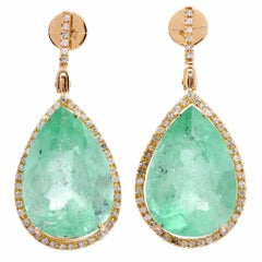 66.00 Carat Emeralds Diamond Gold Pendant Drop Earrings