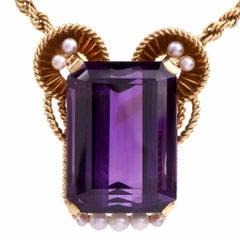 Gueblin Vintage Retro Amethyst Seed Pearl Gold Pendant Necklace