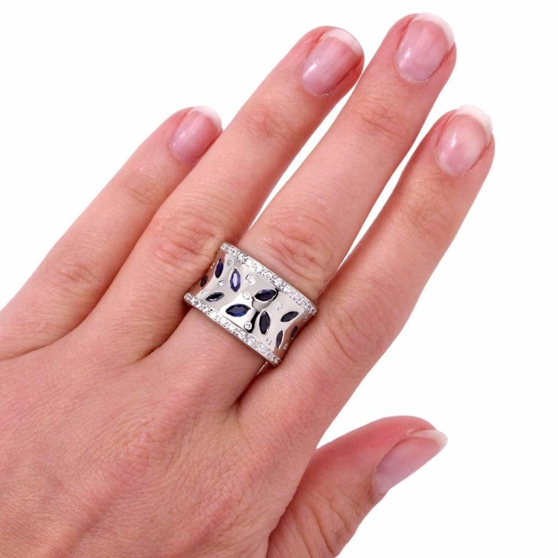 Modern Wide High Polish Diamond and Sapphire Gold Band Ring at 1stdibs