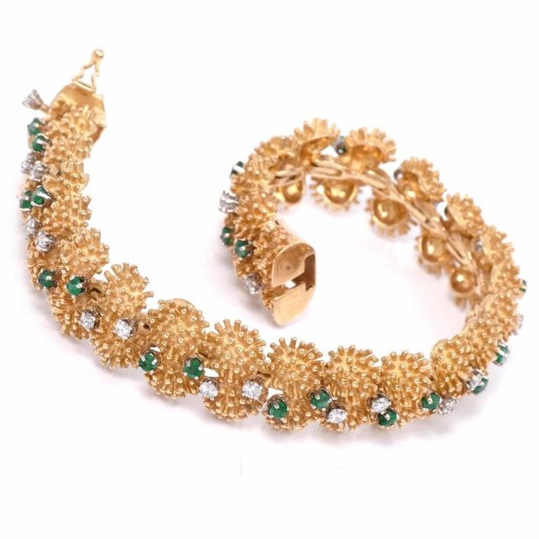 Women's Vintage 1960s Diamond Emerald Gold Bracelet For Sale
