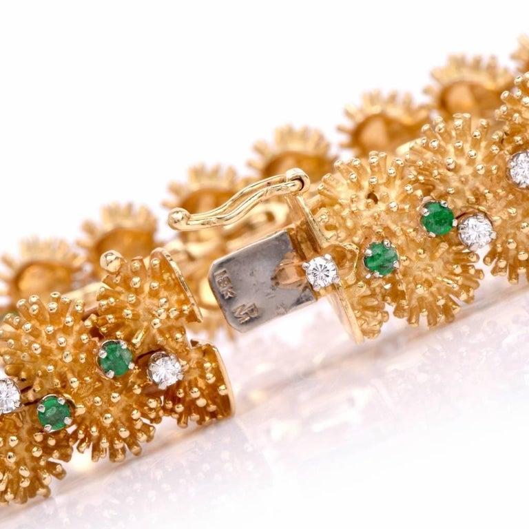 Vintage 1960s Diamond Emerald Gold Bracelet For Sale 1
