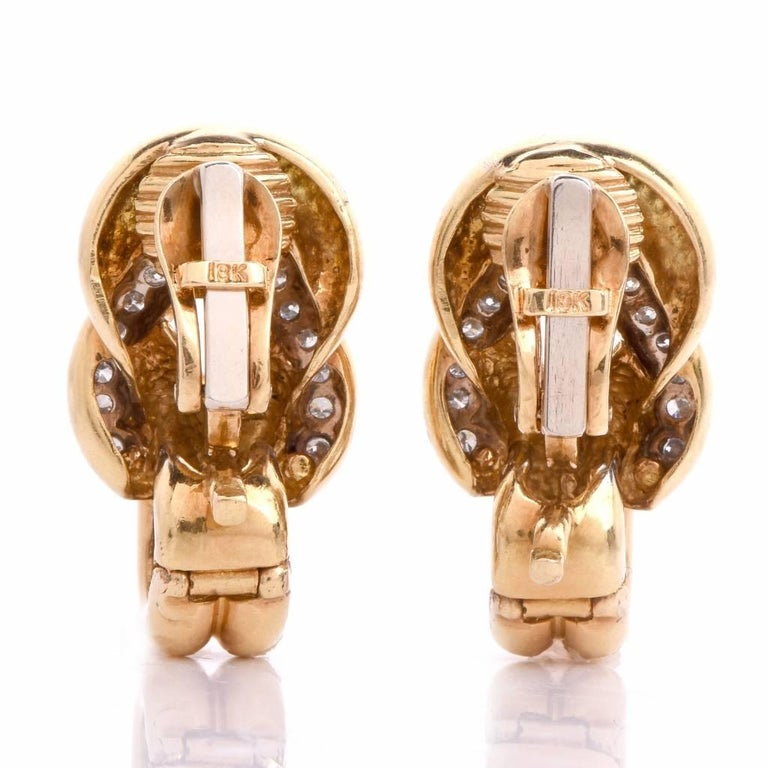 Women's Diamond Gold Clip-Back Earrings For Sale
