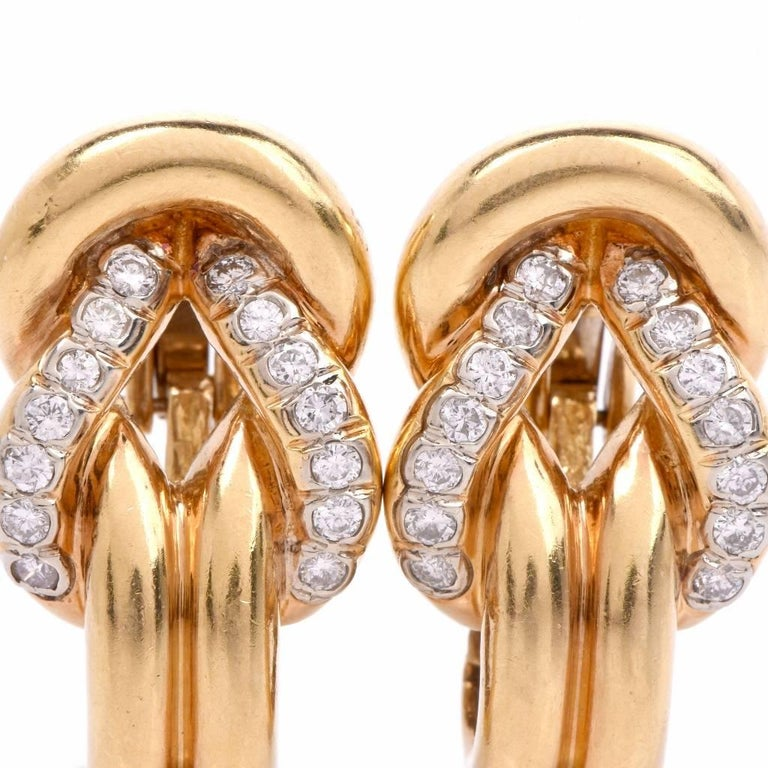 Diamond Gold Clip-Back Earrings For Sale 1