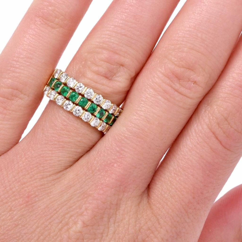 Gemlok Designer Diamond Emerald Band Ring at 1stdibs
