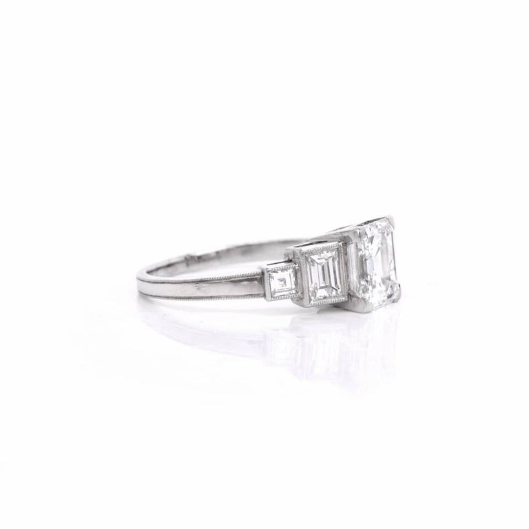 deco emerald cut engagement ring at 1stdibs