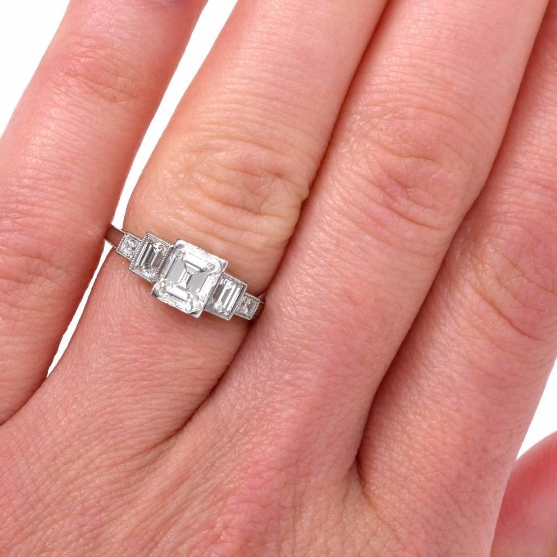 Art Deco Emerald Cut Diamond Engagement Ring at 1stdibs
