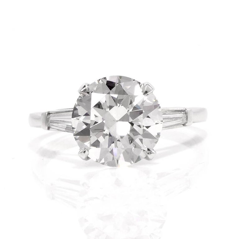 Round Cut Classic 3.21 Carat Certified Diamond Platinum Baguette and Round Engagement Ring For Sale