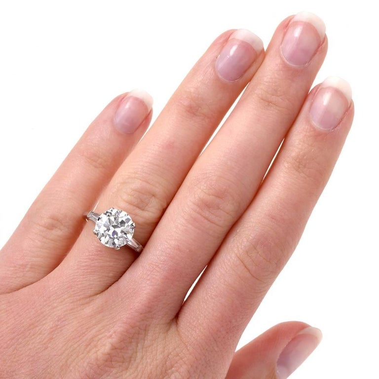 Classic 3.21 Carat Certified Diamond Platinum Baguette and Round Engagement Ring For Sale 4