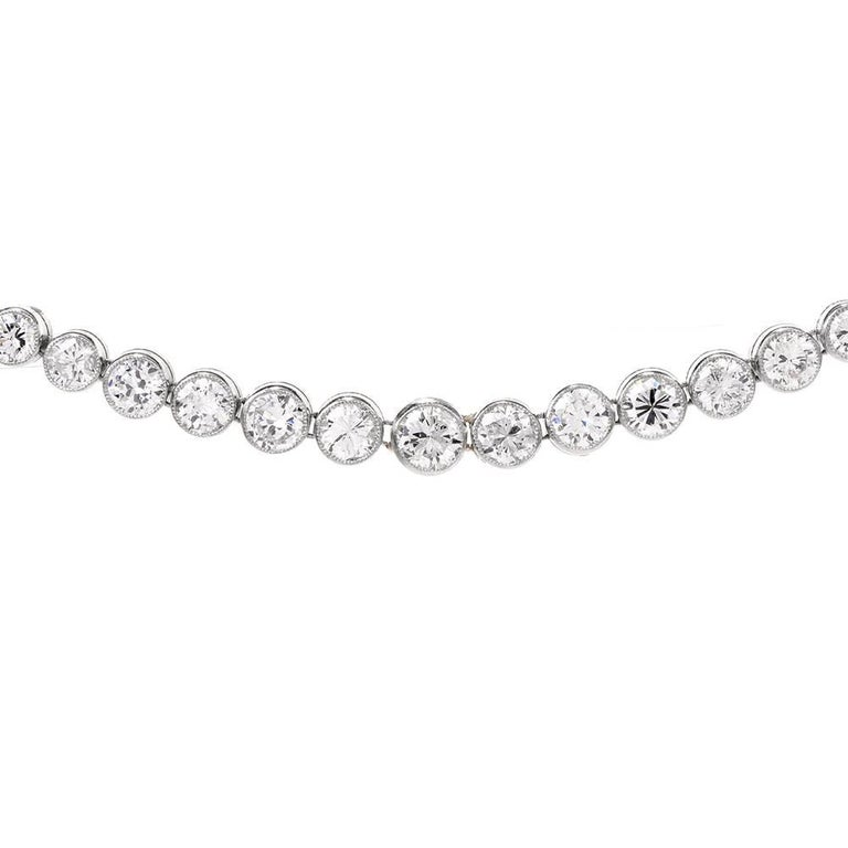 Round Cut Diamond Platinum Riviere Tennis Necklace For Sale