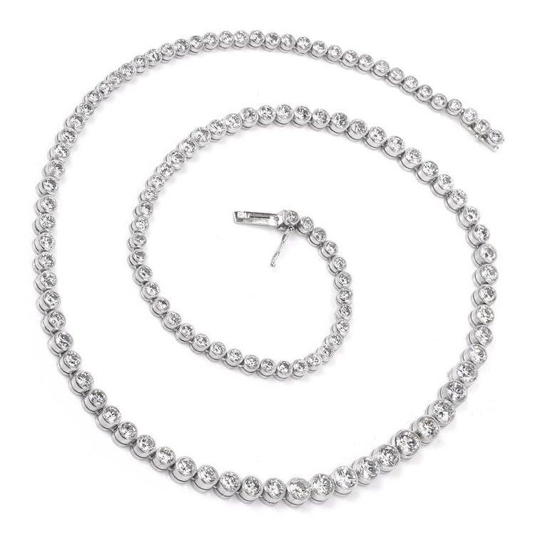 Art Deco Diamond Platinum Riviere Tennis Necklace For Sale