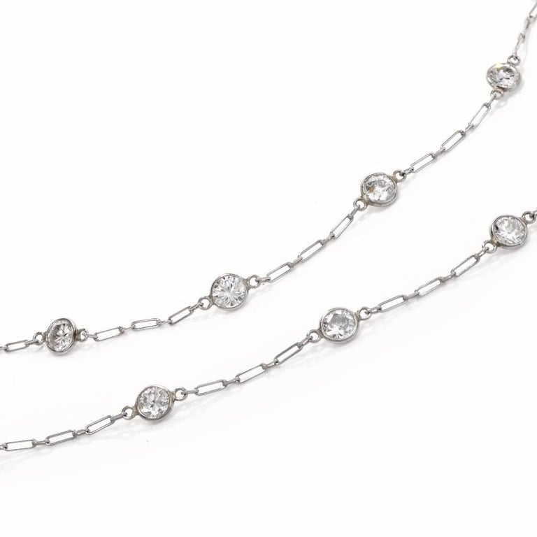 Round Cut 12.95 Carat Diamond by the Yard Platinum Chain Necklace For Sale