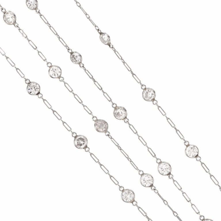 Art Deco 12.95 Carat Diamond by the Yard Platinum Chain Necklace For Sale