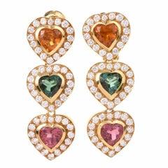 1980s Tourmaline Citrine Diamond Yellow Gold Clip-Back Earrings