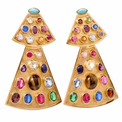 1960s Egyptian Inspired Multi-Gem Clip-Back Long Earrings