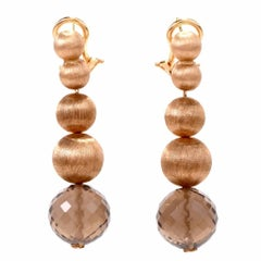 Gold Ball Smoky Quartz Pendant Earrings