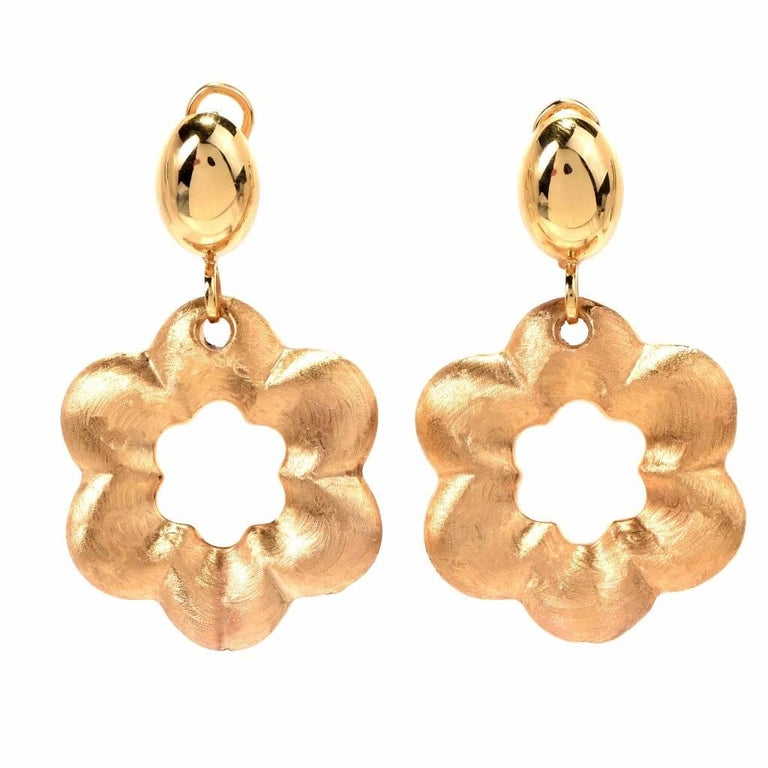 21st Century Yellow Gold Floral Motif Dangle Drop Earrings