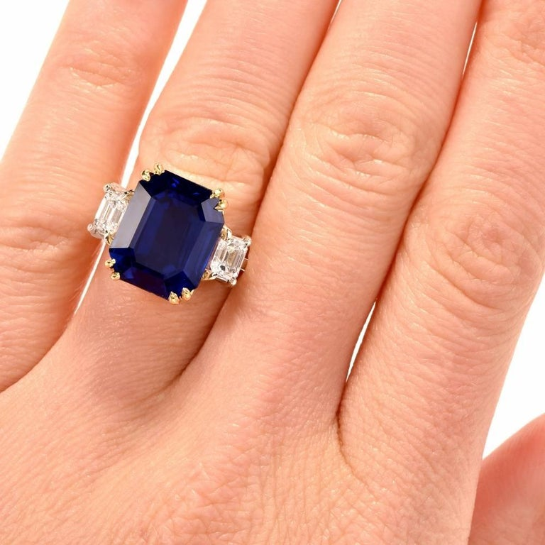 51e17f79d6a662 11.88 Carat Emerald-Cut Blue Sapphire Diamond Three-Stone 18 Karat Gold Ring  For
