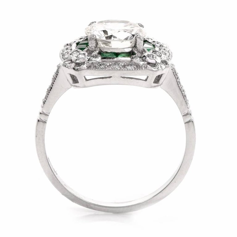 Diamond Emerald Platinum Engagement Ring For Sale 1