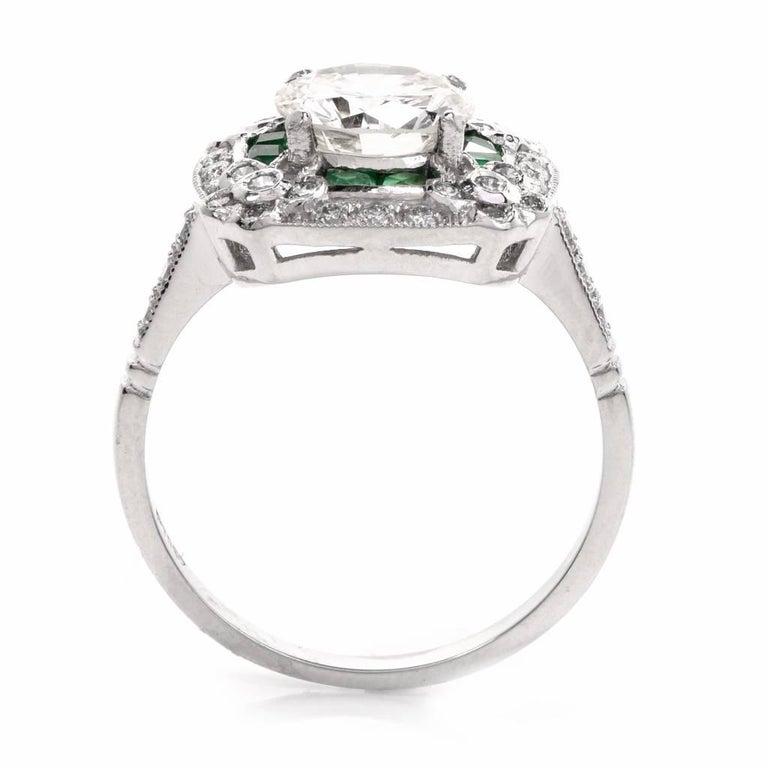Diamond Emerald Platinum Engagement Ring For Sale 1