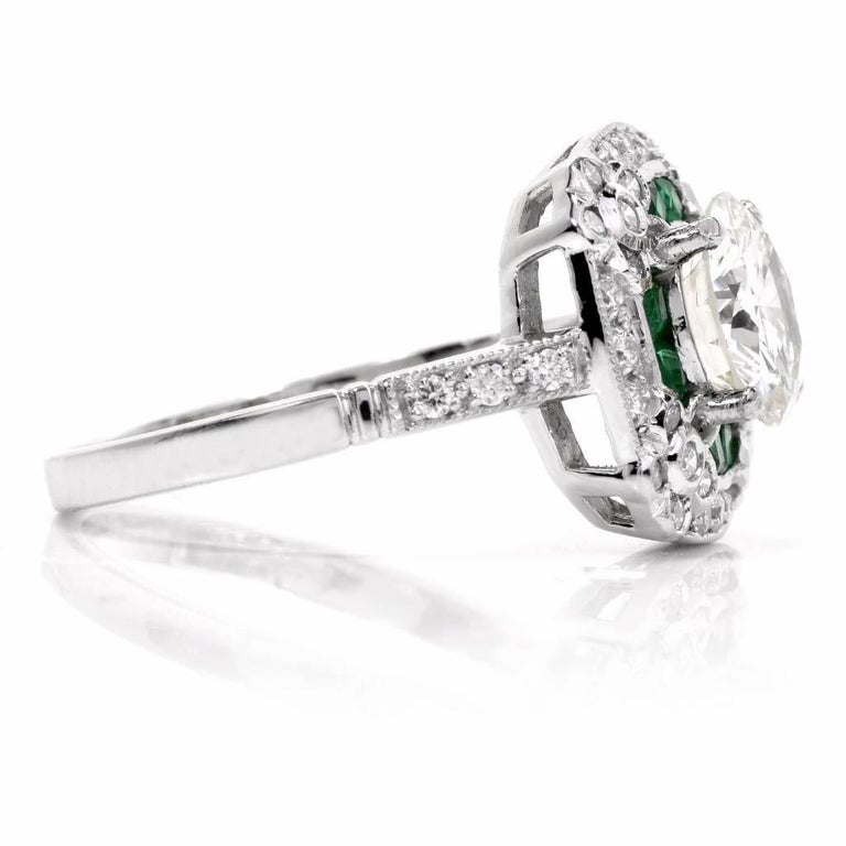 Diamond Emerald Platinum Engagement Ring In Excellent Condition For Sale In Miami, FL
