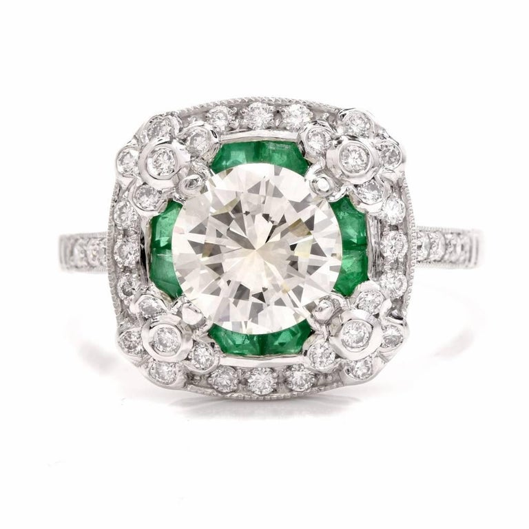 Art Deco  Diamond Emerald Platinum Engagement Ring For Sale
