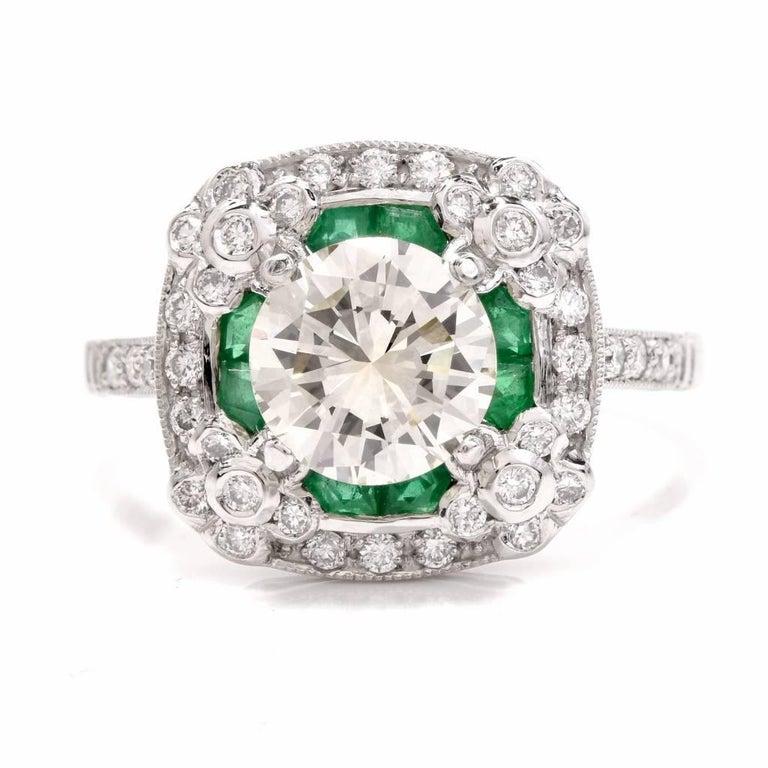 Art Deco  Diamond Emerald Platinum Engagement Ring For Sale