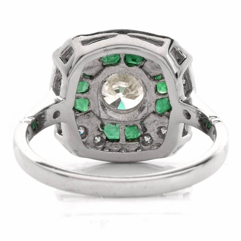 Women's  Diamond Emerald Platinum Engagement Ring For Sale