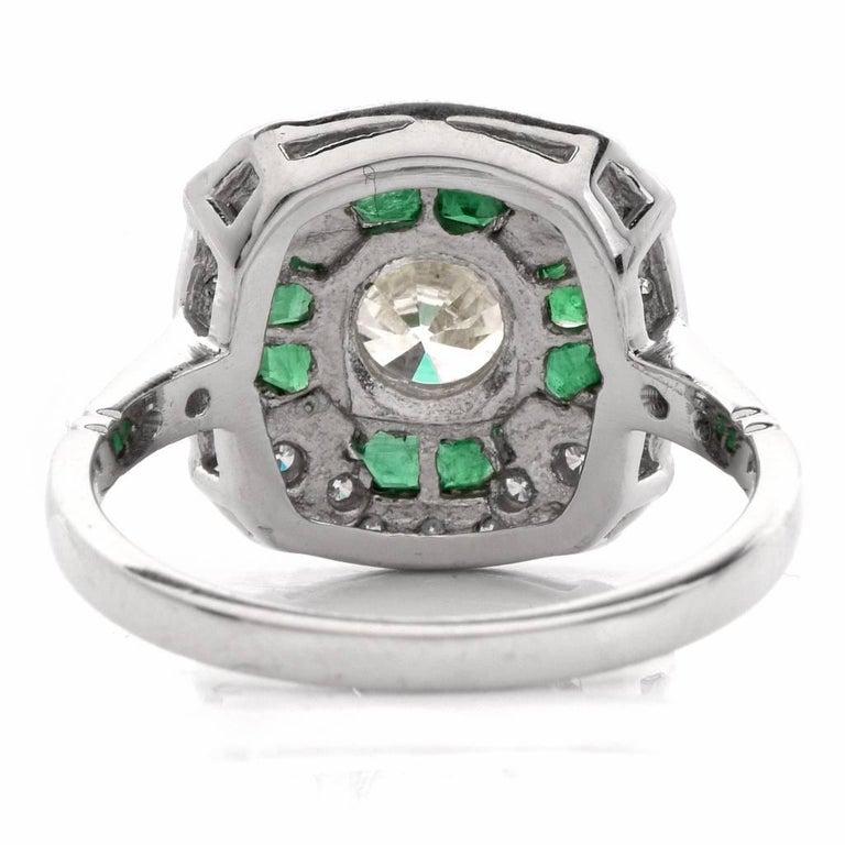 Women's  Diamond Emerald Platinum Engagement Ring For Sale