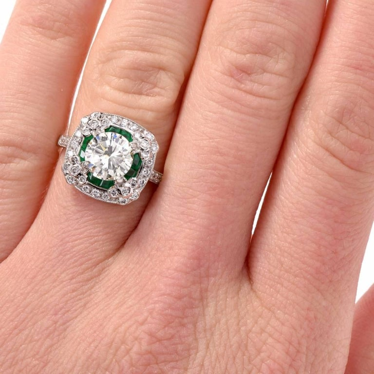Diamond Emerald Platinum Engagement Ring For Sale 2