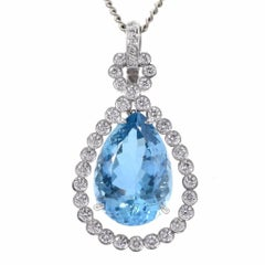 Pear Aquamarine Diamond 18K Gold Dangle Drop Pendant