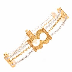 Bedat & Co Natural Yellow Sapphire 18 Karat Gold Line Bracelet