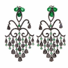 Georgian Style Emerald Diamond Cascading Chandelier Drop Earrings