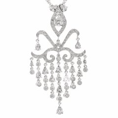 Edwardian Style Diamond 18-Karat Gold Chandelier Pendant Necklace