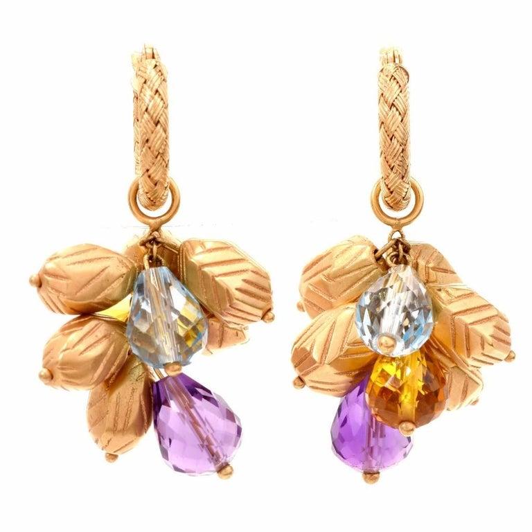 20st Century Multi-Gem Yellow Gold Grape Cluster Earrings