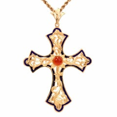 Carnelian and Blue Enamel Cross Pendant