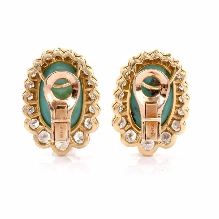 Diamond Turquoise 18 Karat Gold Clip-Back Earrings In Excellent Condition For Sale In Miami, FL
