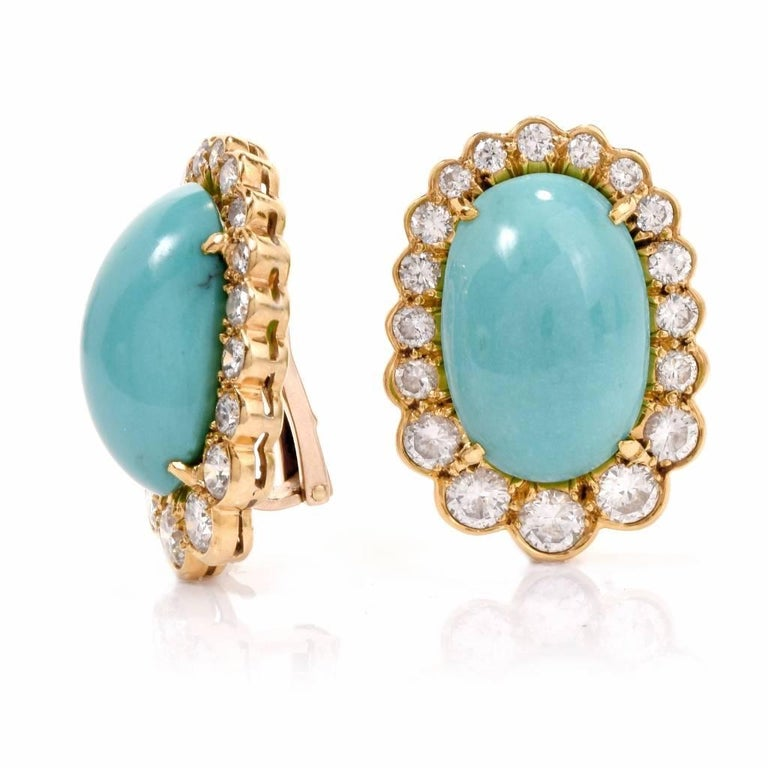 Women's  Diamond Turquoise 18 Karat Gold Clip-Back Earrings For Sale