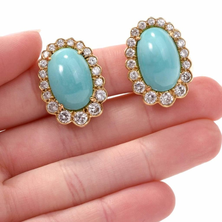 Round Cut  Diamond Turquoise 18 Karat Gold Clip-Back Earrings For Sale