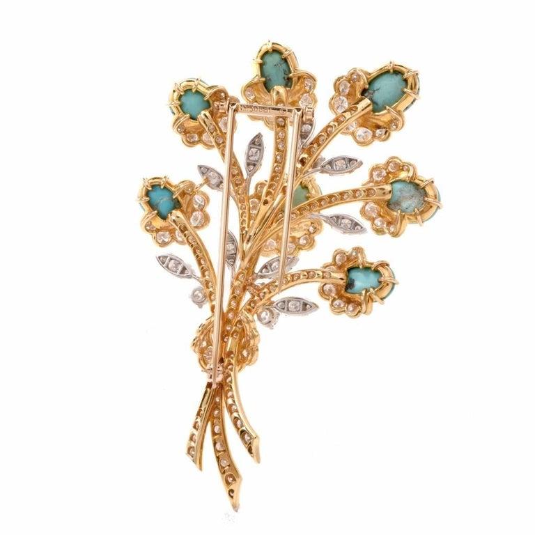 Women's Van Cleef & Arpels Diamond Gold Flower VCA Pin Brooch For Sale