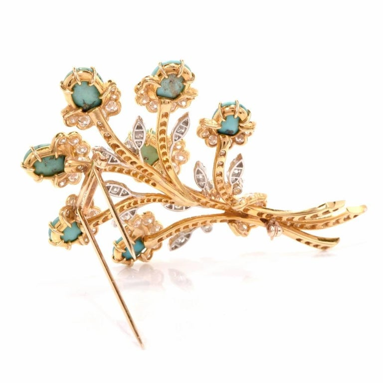 Van Cleef & Arpels Diamond Gold Flower VCA Pin Brooch For Sale 2