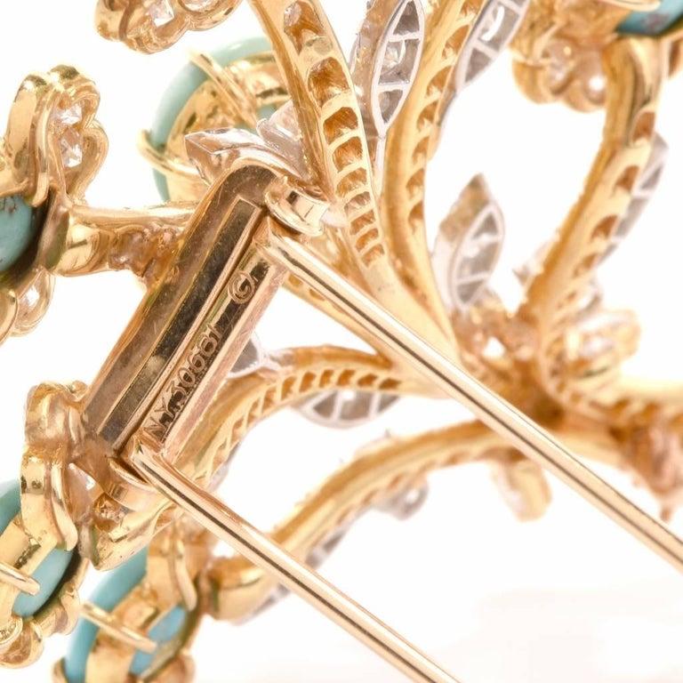 Van Cleef & Arpels Diamond Gold Flower VCA Pin Brooch For Sale 1