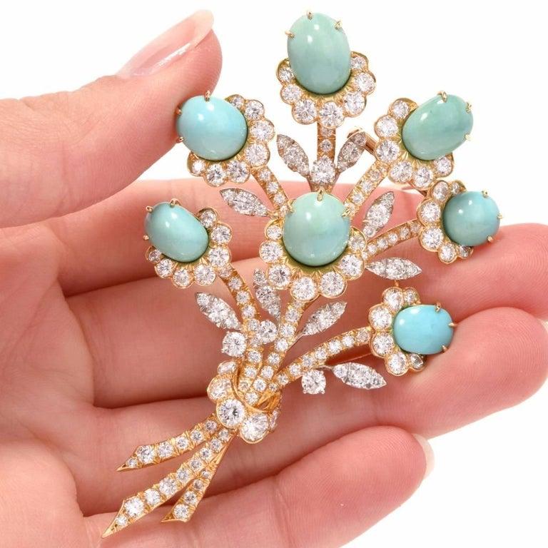 Van Cleef & Arpels Diamond Gold Flower VCA Pin Brooch For Sale 4