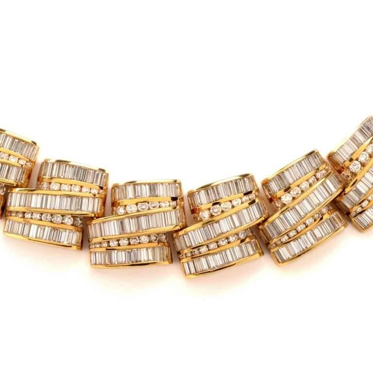 1980s Charles Ckrypell Baguette Diamond Yellow Gold Chocker Necklace For Sale 1