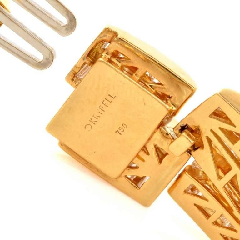 Baguette Cut 1980s Charles Ckrypell Baguette Diamond Yellow Gold Chocker Necklace For Sale