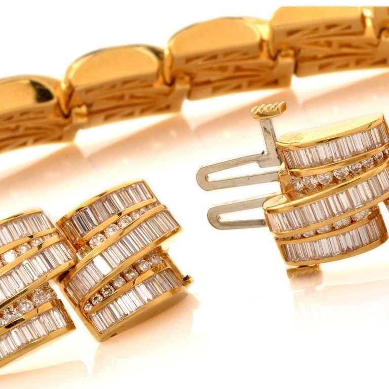 1980s Charles Ckrypell Baguette Diamond Yellow Gold Chocker Necklace For Sale 2