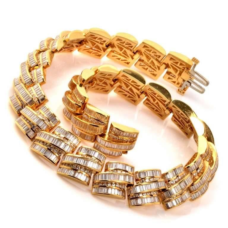 1980s Charles Ckrypell Baguette Diamond Yellow Gold Chocker Necklace In Excellent Condition For Sale In Miami, FL
