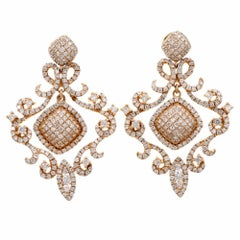 Cannetille Style Diamond Rose Gold  Pendant Earrings